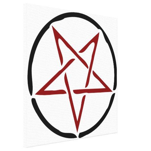 Pentagram rojo impresión en lona