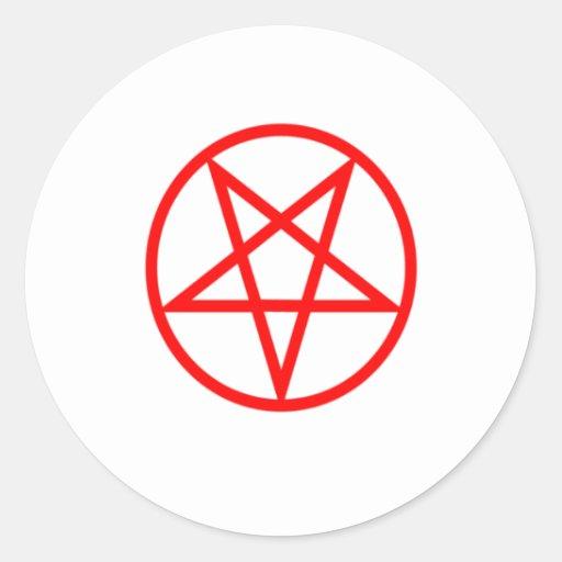 Pentagram rojo invertido etiqueta redonda