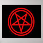 Pentagram rojo invertido impresiones