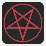 Pentagram rojo pegatina cuadrada