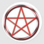 Pentagram rojo pegatina redonda