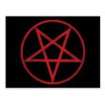 Pentagram rojo postal