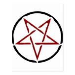 Pentagram rojo postales