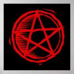 Pentagram rojo poster