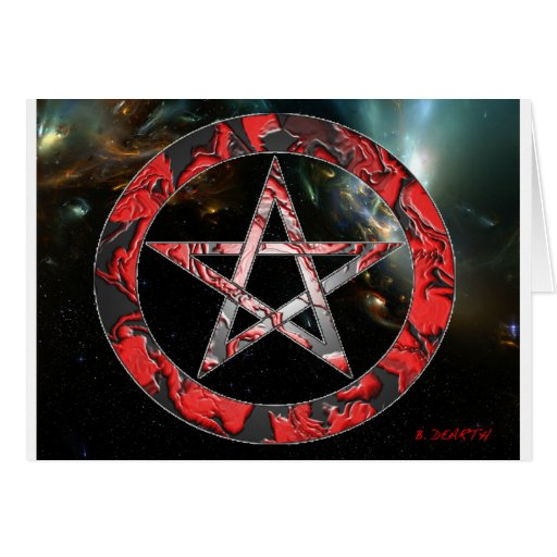 pentagram rojo tarjeta