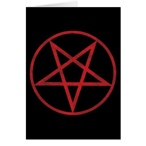 Pentagram rojo tarjeta de felicitación
