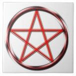 Pentagram rojo tejas