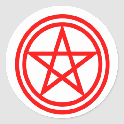 Pentagram rojo vertical pegatina redonda