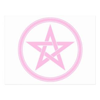 Pentagram rosa claro del pentáculo tarjeta postal