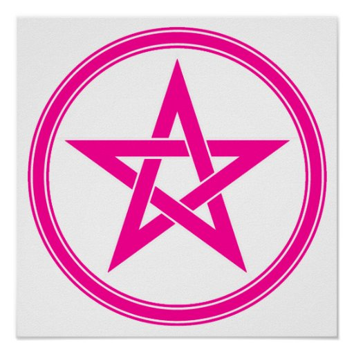 Pentagram rosado del pentáculo póster