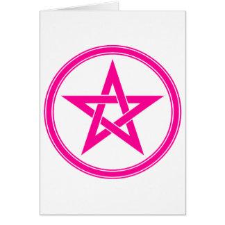 Pentagram rosado del pentáculo tarjeta de felicitación