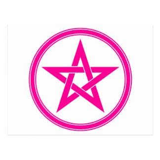 Pentagram rosado del pentáculo tarjeta postal