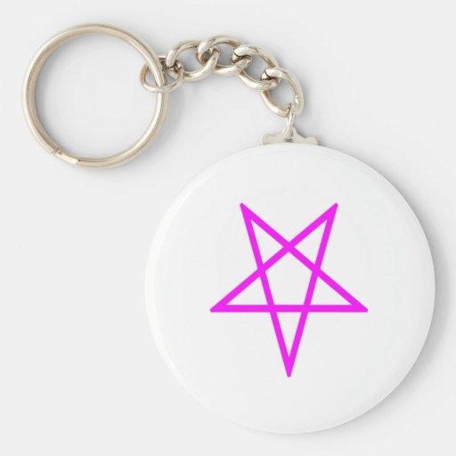 Pentagram rosado invertido llavero redondo tipo pin