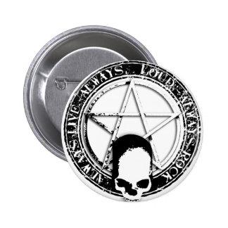 pentagram ruedas rock and skull wings pin