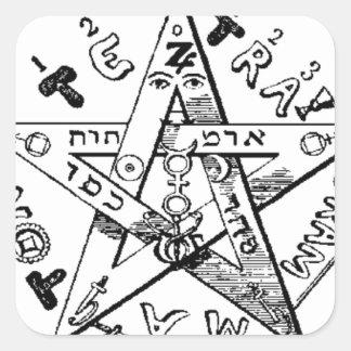 Pentagram satánico calcomania cuadradas personalizada