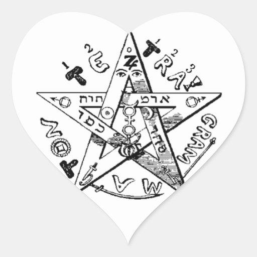 Pentagram satánico pegatina en forma de corazón