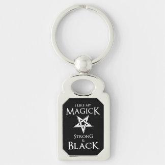 Pentagram satánico y del gótico de la magia negra llavero plateado rectangular