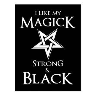 Pentagram satánico y del gótico de la magia negra postal