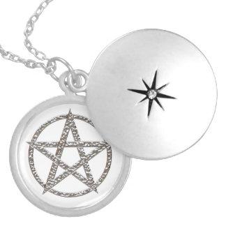 Pentagram Silver Plated Round Locket