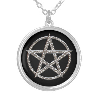 Pentagram Silver Plated Round Necklace