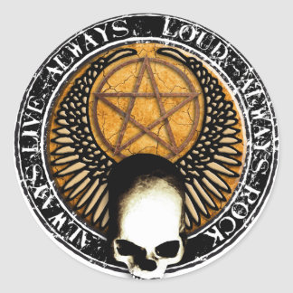 Pentagram skirt and roll skull classic round sticker