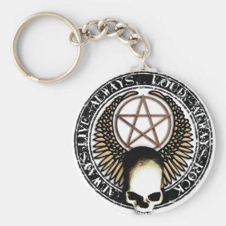Pentagram skirt and roll skull keychain
