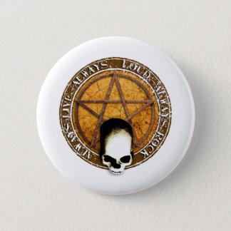 Pentagram skirt and roll skull pinback button