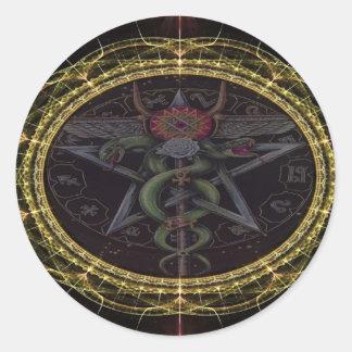 Pentagram Snakes Classic Round Sticker
