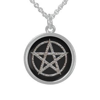 Pentagram Sterling Silver Round Necklace