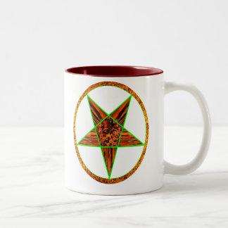 Pentagram-Sunburst Two-Tone Coffee Mug