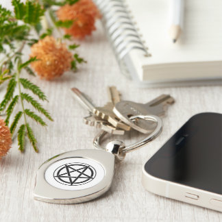 Pentagram Symbol - Five-Pointed Star Silver-Colored Swirl Metal Keychain