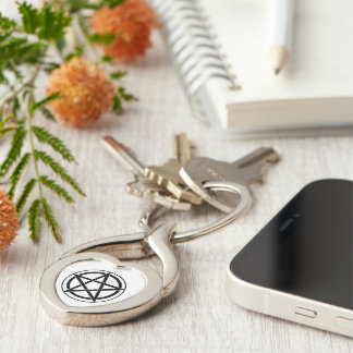 Pentagram Symbol - Five-Pointed Star Silver-Colored Heart-Shaped Metal Keychain