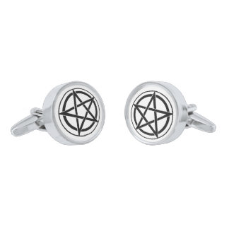 Pentagram Symbol - Five-Pointed Star Silver Finish Cuff Links