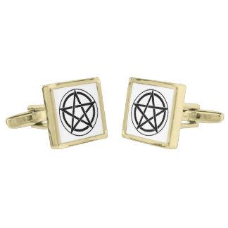 Pentagram Symbol - Five-Pointed Star Gold Finish Cufflinks