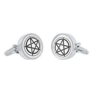 Pentagram Symbol - Five-Pointed Star Silver Finish Cuff Links