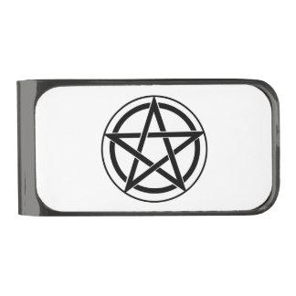 Pentagram Symbol - Five-Pointed Star Gunmetal Finish Money Clip
