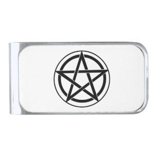 Pentagram Symbol - Five-Pointed Star Silver Finish Money Clip