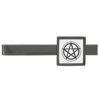 Pentagram Symbol - Five-Pointed Star Gunmetal Finish Tie Clip