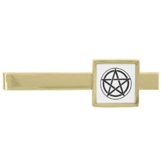 Pentagram Symbol - Five-Pointed Star Gold Finish Tie Clip