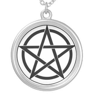 Pentagram Symbol Round Pendant Necklace