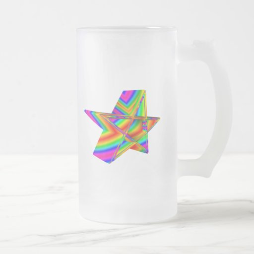 Pentagram tridimensional del arco iris taza