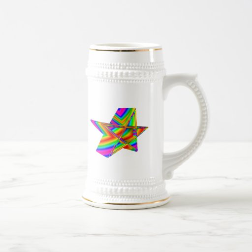 Pentagram tridimensional del arco iris jarra de cerveza