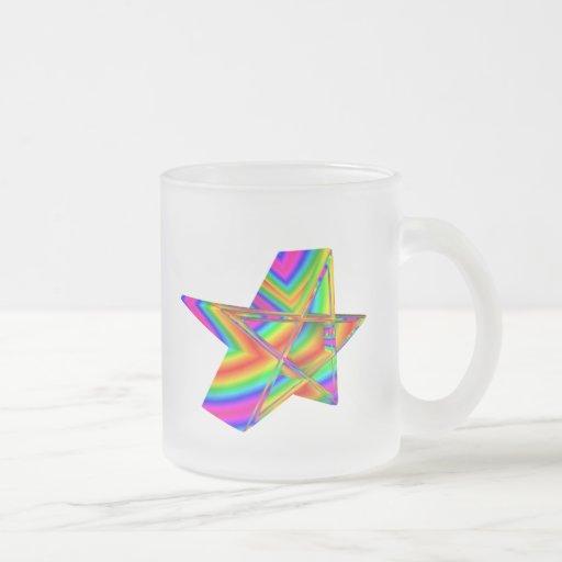 Pentagram tridimensional del arco iris taza cristal mate