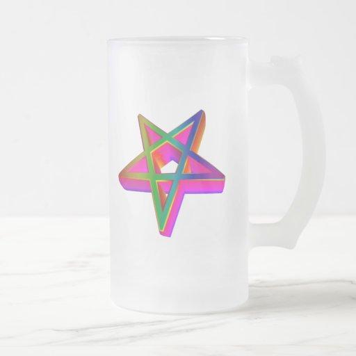Pentagram tridimensional invertido taza cristal mate