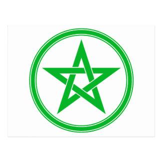 Pentagram verde del pentáculo postales
