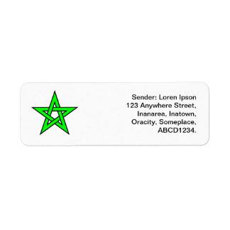 Pentagram - verde etiqueta de remite