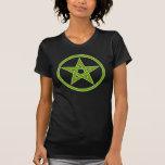 Pentagram verde oliva del pentáculo camiseta