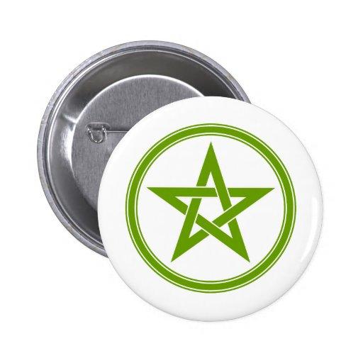 Pentagram verde oliva del pentáculo pins
