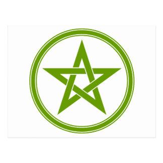Pentagram verde oliva del pentáculo postales