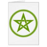 Pentagram verde oliva del pentáculo tarjetón